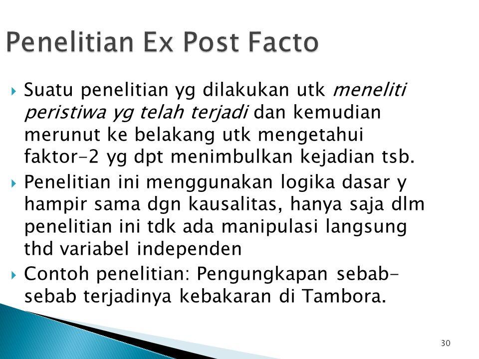 30 Penelitian Ex Post Facto  Suatu penelitian yg dilakukan utk meneliti peristiwa yg telah terjadi dan kemudian merunut ke belakang utk mengetahui faktor-2 yg dpt menimbulkan kejadian tsb.