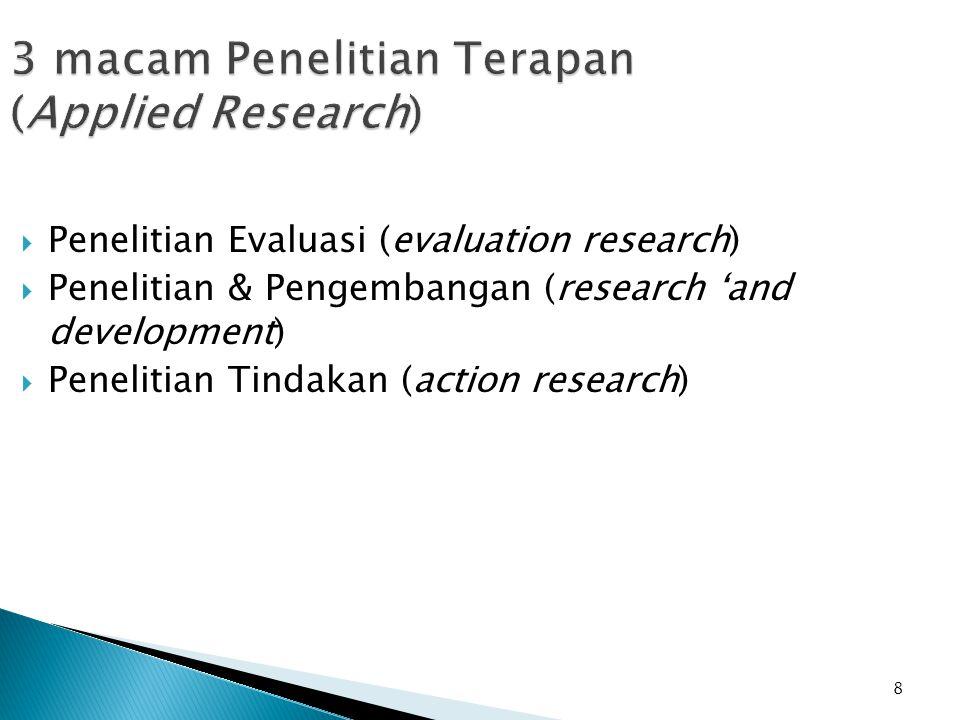 8 3 macam Penelitian Terapan (Applied Research)  Penelitian Evaluasi (evaluation research)  Penelitian & Pengembangan (research 'and development)  Penelitian Tindakan (action research)