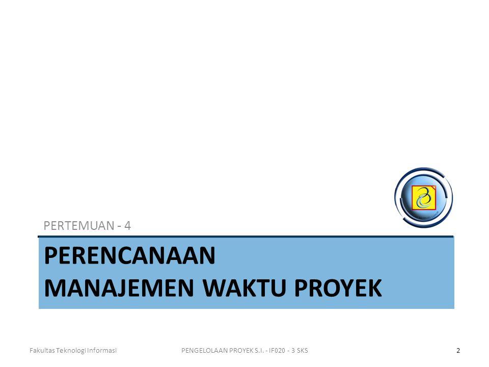 PERENCANAAN MANAJEMEN WAKTU PROYEK PERTEMUAN - 4 Fakultas Teknologi Informasi2PENGELOLAAN PROYEK S.I.