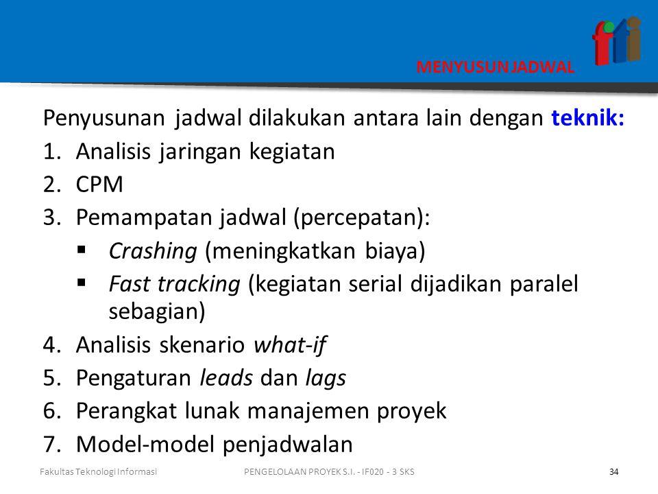 MENYUSUN JADWAL Penyusunan jadwal dilakukan antara lain dengan teknik: 1.Analisis jaringan kegiatan 2.CPM 3.Pemampatan jadwal (percepatan):  Crashing (meningkatkan biaya)  Fast tracking (kegiatan serial dijadikan paralel sebagian) 4.Analisis skenario what-if 5.Pengaturan leads dan lags 6.Perangkat lunak manajemen proyek 7.Model-model penjadwalan Fakultas Teknologi Informasi34PENGELOLAAN PROYEK S.I.