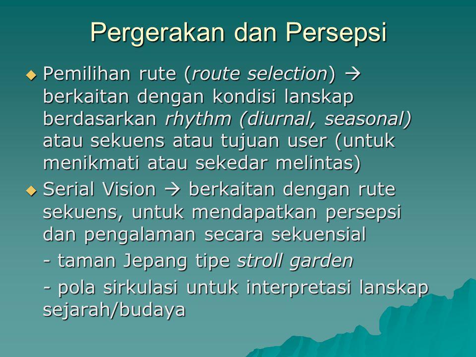 Pergerakan dan Persepsi  Pemilihan rute (route selection)  berkaitan dengan kondisi lanskap berdasarkan rhythm (diurnal, seasonal) atau sekuens atau