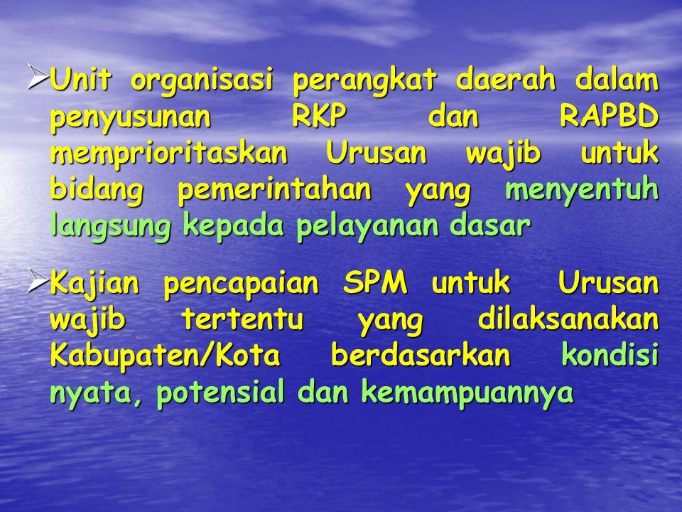 APA Peranan Kabupaten/Kota?  Kabupaten/Kota menyusun dan menetapkan Peraturan Daerah tentang pelaksanaan SPM  Pada prinsipnya penyelenggaraan urusan