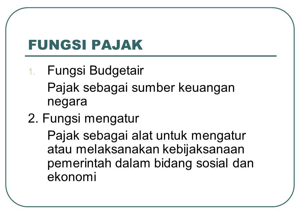 FUNGSI PAJAK 1.Fungsi Budgetair Pajak sebagai sumber keuangan negara 2.