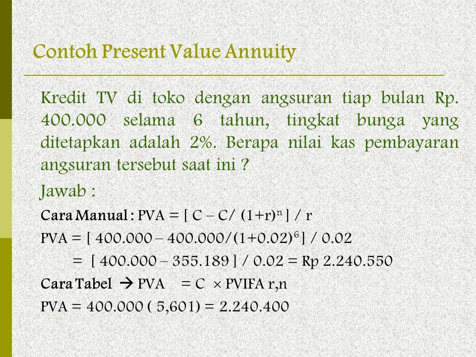 Kredit TV di toko dengan angsuran tiap bulan Rp. 400.000 selama 6 tahun, tingkat bunga yang ditetapkan adalah 2%. Berapa nilai kas pembayaran angsuran