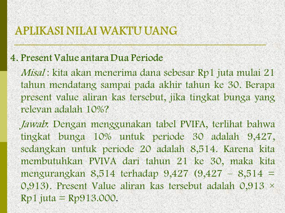 4. Present Value antara Dua Periode Misal : kita akan menerima dana sebesar Rp1 juta mulai 21 tahun mendatang sampai pada akhir tahun ke 30. Berapa pr