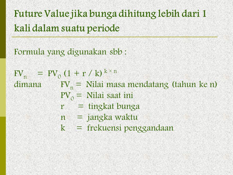 Future Value jika bunga dihitung lebih dari 1 kali dalam suatu periode Formula yang digunakan sbb : FV n = PV 0 (1 + r / k) k × n dimana FV n = Nilai
