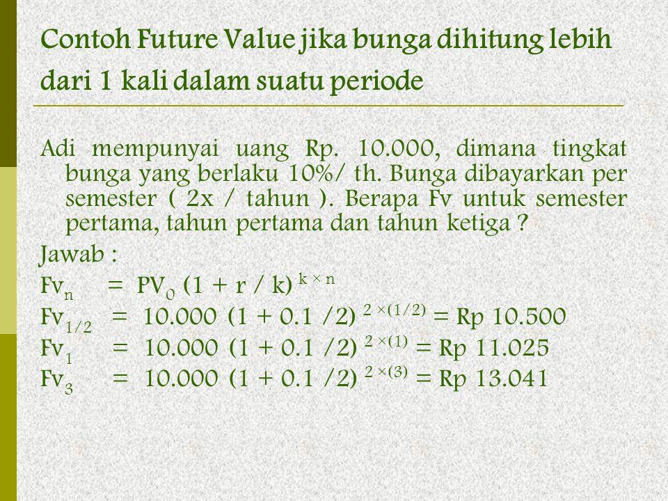 Contoh Future Value jika bunga dihitung lebih dari 1 kali dalam suatu periode Adi mempunyai uang Rp. 10.000, dimana tingkat bunga yang berlaku 10%/ th