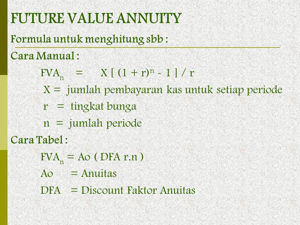 Formula untuk menghitung sbb : Cara Manual : FVA n =X [ (1 + r) n - 1 ] / r X = jumlah pembayaran kas untuk setiap periode r = tingkat bunga n = jumla