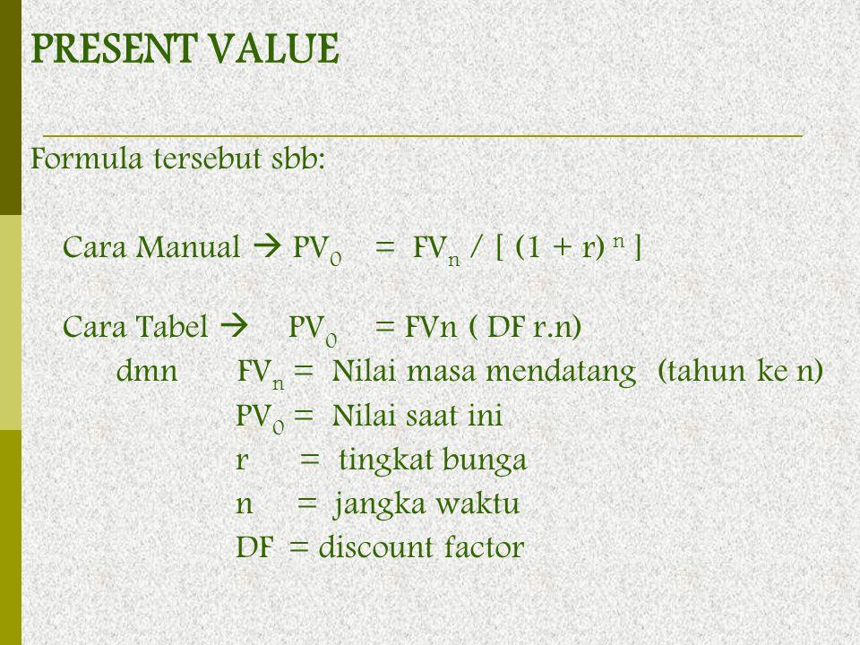 Formula tersebut sbb: Cara Manual  PV 0 = FV n / [ (1 + r) n ] Cara Tabel  PV 0 = FVn ( DF r.n) dmn FV n = Nilai masa mendatang (tahun ke n) PV 0 =
