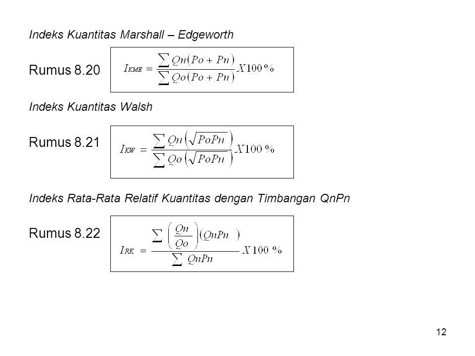 12 Indeks Kuantitas Marshall – Edgeworth Rumus 8.20 Indeks Kuantitas Walsh Rumus 8.21 Indeks Rata-Rata Relatif Kuantitas dengan Timbangan QnPn Rumus 8