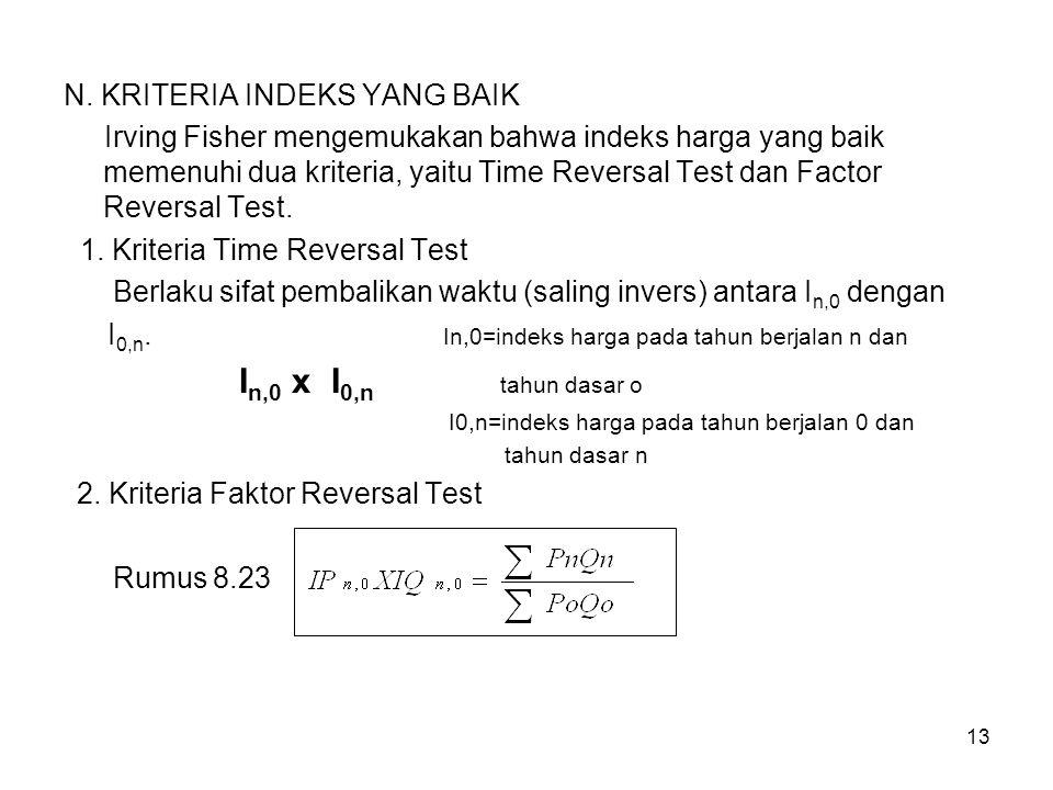 13 N. KRITERIA INDEKS YANG BAIK Irving Fisher mengemukakan bahwa indeks harga yang baik memenuhi dua kriteria, yaitu Time Reversal Test dan Factor Rev