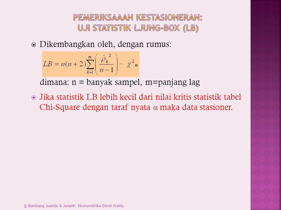  Dikembangkan oleh, dengan rumus: dimana: n = banyak sampel, m=panjang lag  Jika statistik LB lebih kecil dari nilai kritis statistik tabel Chi-Squa