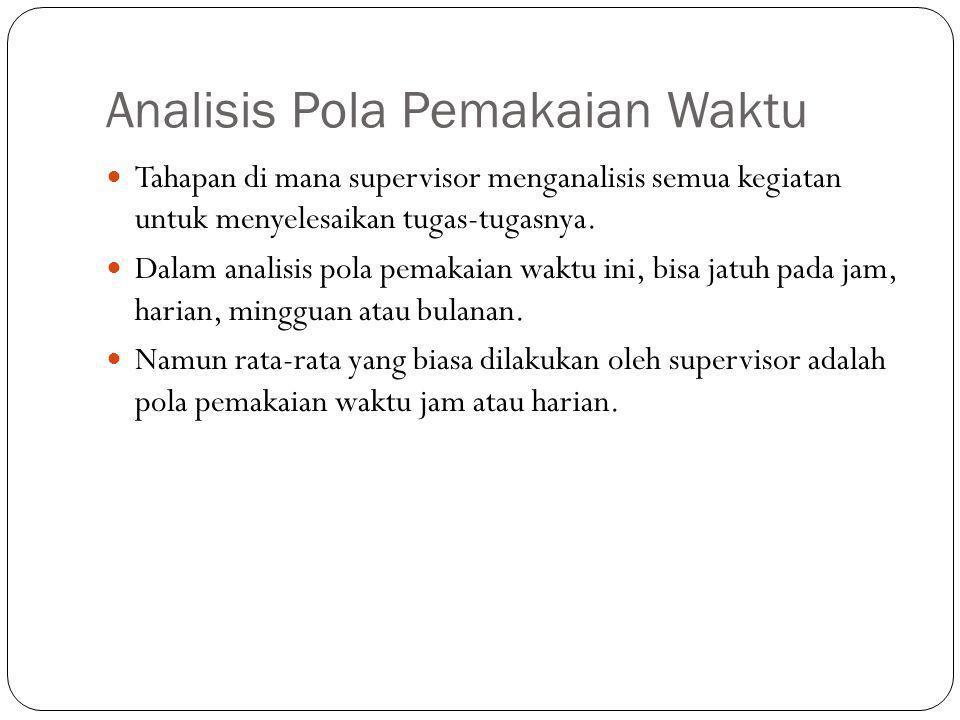 Analisis Pola Pemakaian Waktu  Tahapan di mana supervisor menganalisis semua kegiatan untuk menyelesaikan tugas-tugasnya.  Dalam analisis pola pemak