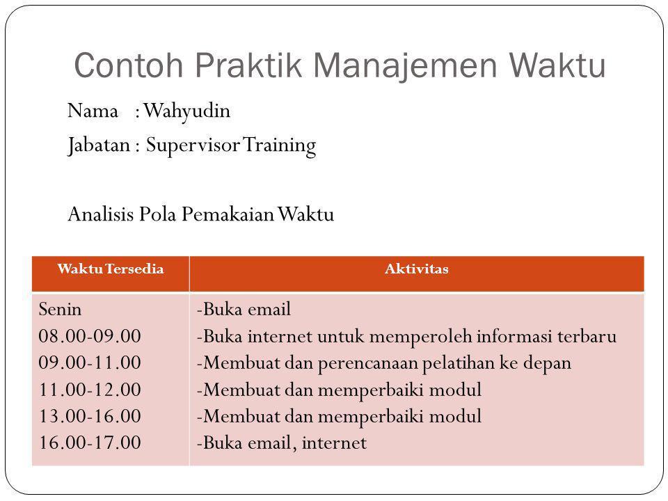 Contoh Praktik Manajemen Waktu Waktu TersediaAktivitas Senin 08.00-09.00 09.00-11.00 11.00-12.00 13.00-16.00 16.00-17.00 -Buka email -Buka internet un