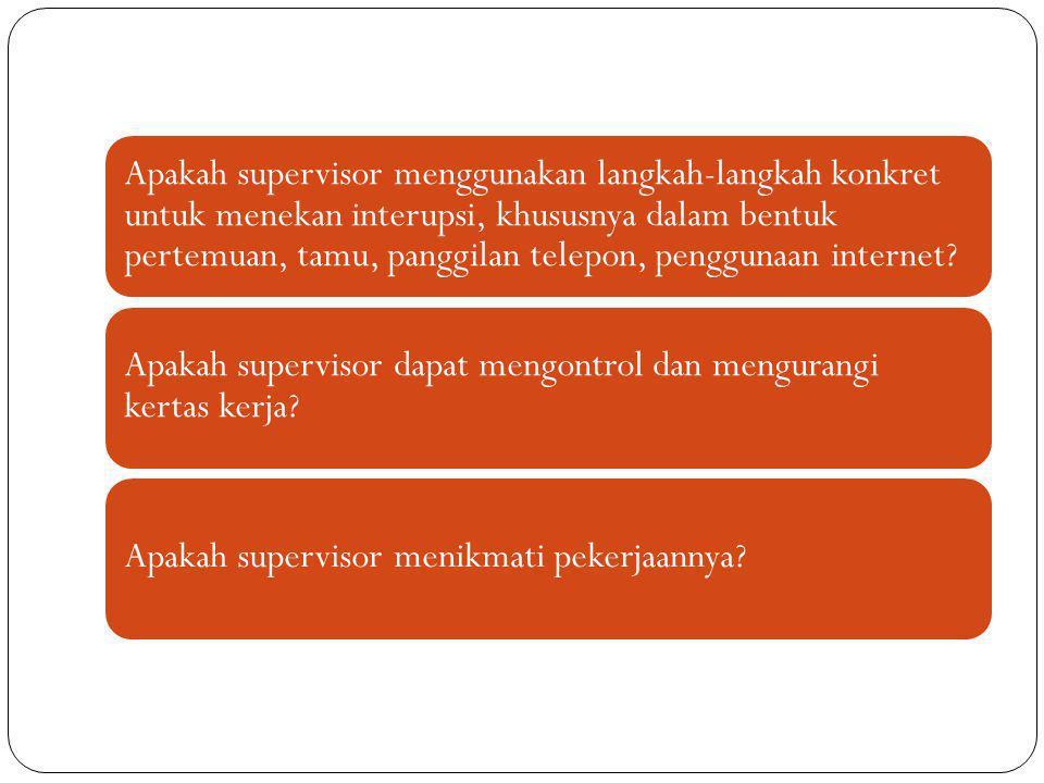 Apakah supervisor menggunakan langkah-langkah konkret untuk menekan interupsi, khususnya dalam bentuk pertemuan, tamu, panggilan telepon, penggunaan i