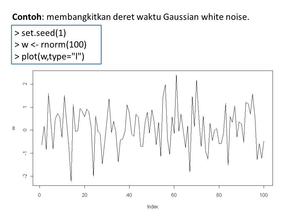 Contoh: membangkitkan deret waktu Gaussian white noise. > set.seed(1) > w <- rnorm(100) > plot(w,type=