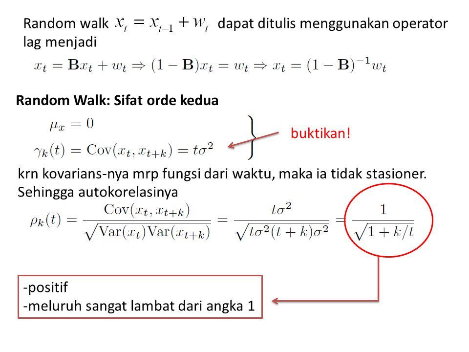 Random walk dapat ditulis menggunakan operator lag menjadi Random Walk: Sifat orde kedua krn kovarians-nya mrp fungsi dari waktu, maka ia tidak stasio