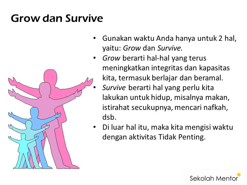 Grow dan Survive • Gunakan waktu Anda hanya untuk 2 hal, yaitu: Grow dan Survive. • Grow berarti hal-hal yang terus meningkatkan integritas dan kapasi