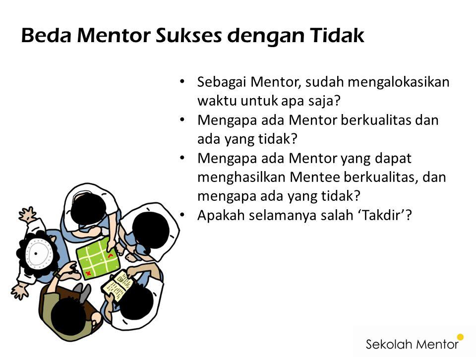 Beda Mentor Sukses dengan Tidak • Sebagai Mentor, sudah mengalokasikan waktu untuk apa saja? • Mengapa ada Mentor berkualitas dan ada yang tidak? • Me