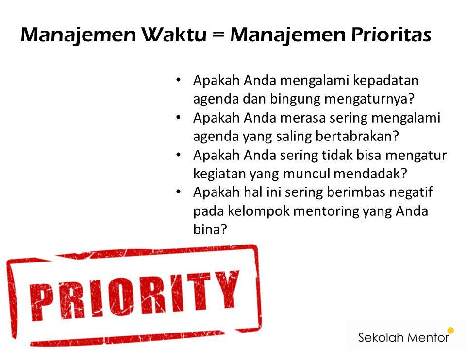 Manajemen Waktu = Manajemen Prioritas • Apakah Anda mengalami kepadatan agenda dan bingung mengaturnya? • Apakah Anda merasa sering mengalami agenda y