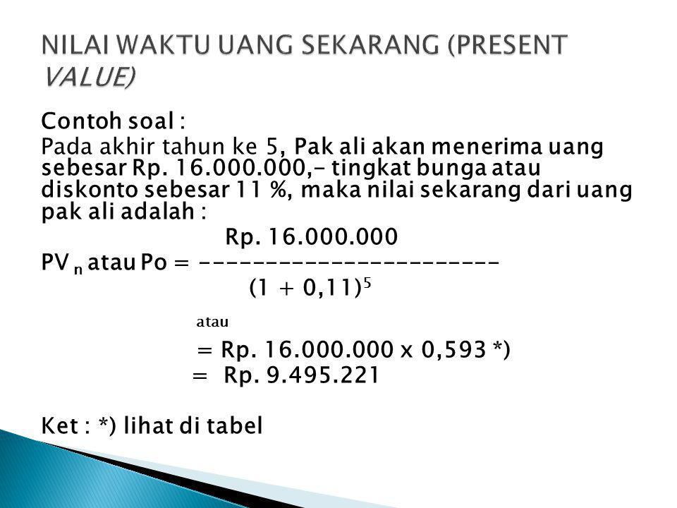 Contoh soal : Pada akhir tahun ke 5, Pak ali akan menerima uang sebesar Rp. 16.000.000,- tingkat bunga atau diskonto sebesar 11 %, maka nilai sekarang
