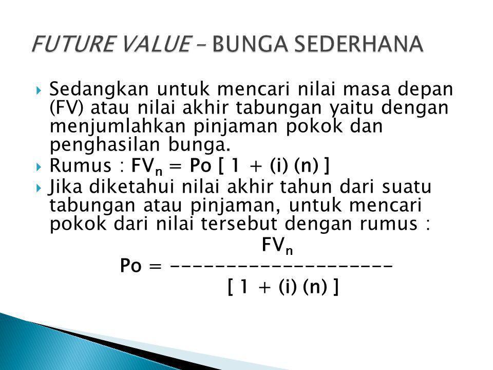  Sedangkan untuk mencari nilai masa depan (FV) atau nilai akhir tabungan yaitu dengan menjumlahkan pinjaman pokok dan penghasilan bunga.  Rumus : FV