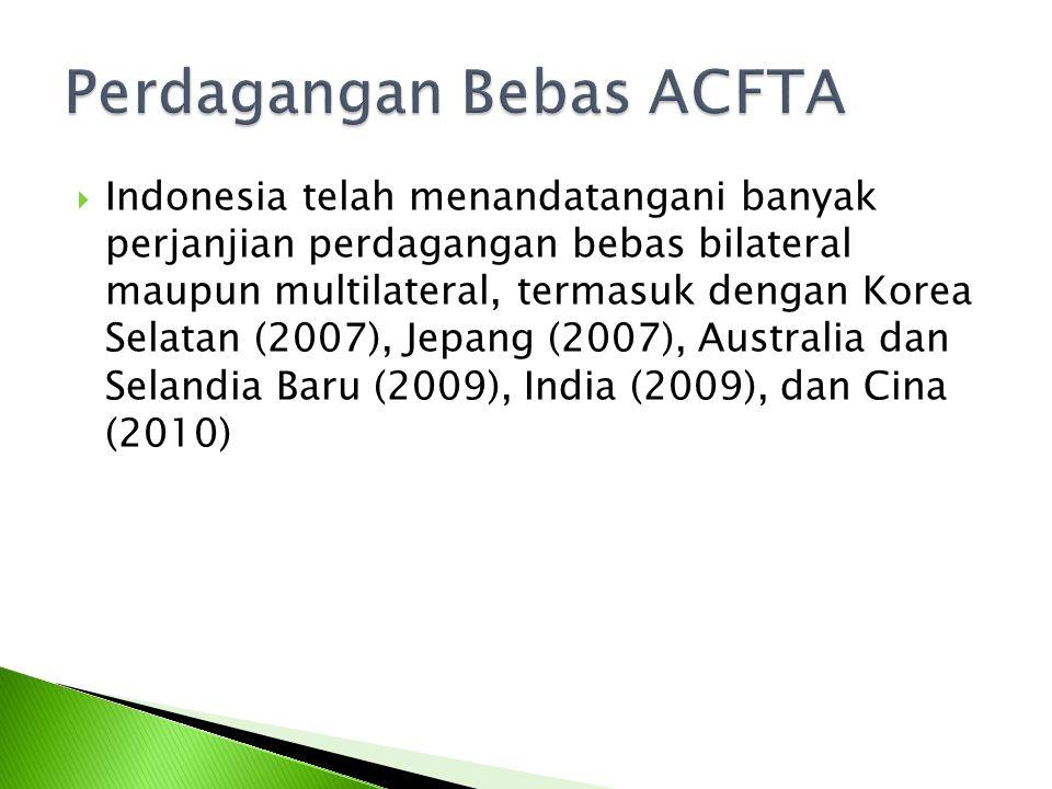  Indonesia telah menandatangani banyak perjanjian perdagangan bebas bilateral maupun multilateral, termasuk dengan Korea Selatan (2007), Jepang (2007), Australia dan Selandia Baru (2009), India (2009), dan Cina (2010)