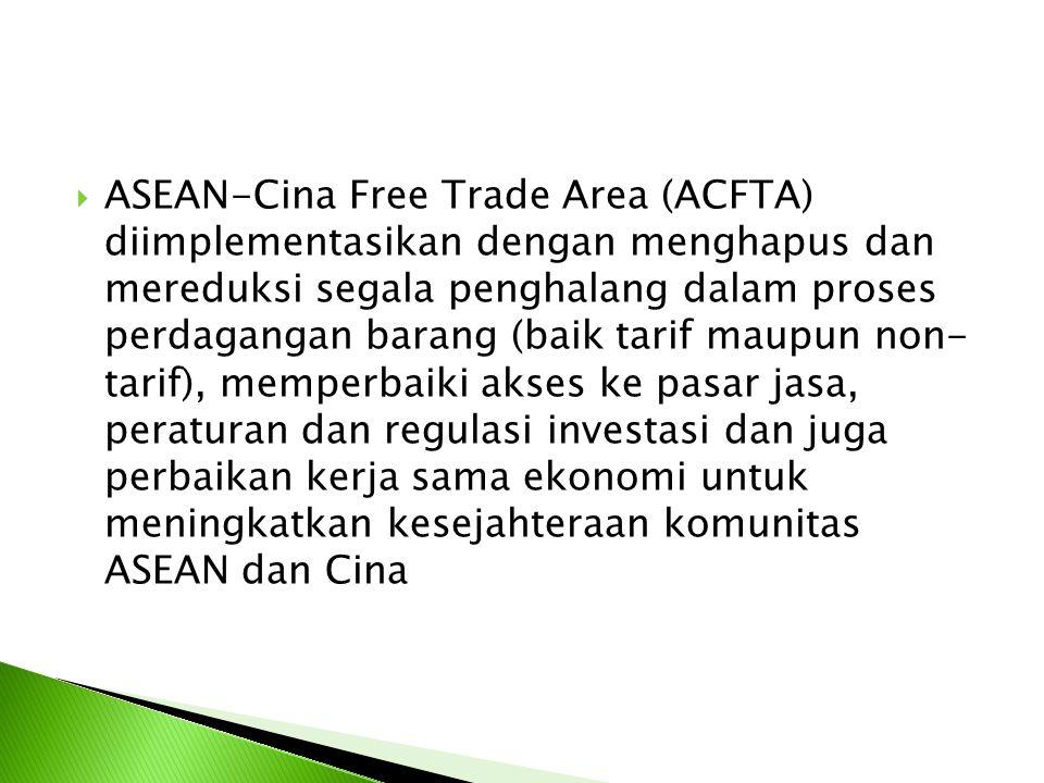  ASEAN-Cina Free Trade Area (ACFTA) diimplementasikan dengan menghapus dan mereduksi segala penghalang dalam proses perdagangan barang (baik tarif ma