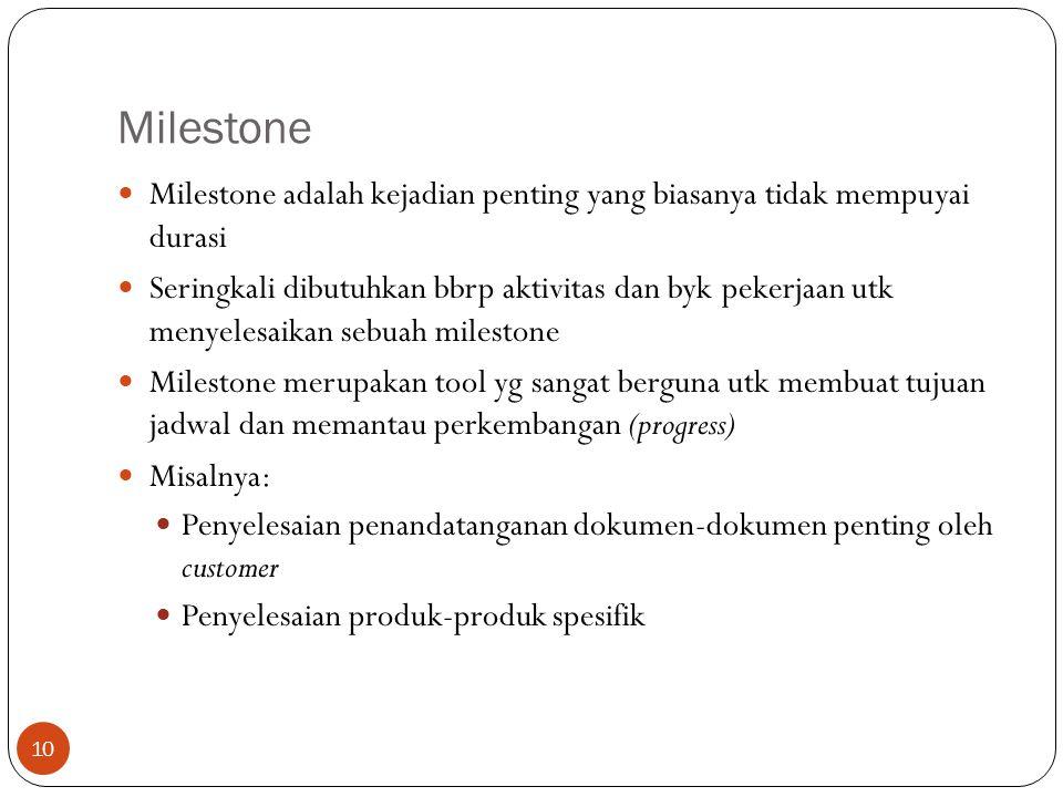 Milestone 10  Milestone adalah kejadian penting yang biasanya tidak mempuyai durasi  Seringkali dibutuhkan bbrp aktivitas dan byk pekerjaan utk meny