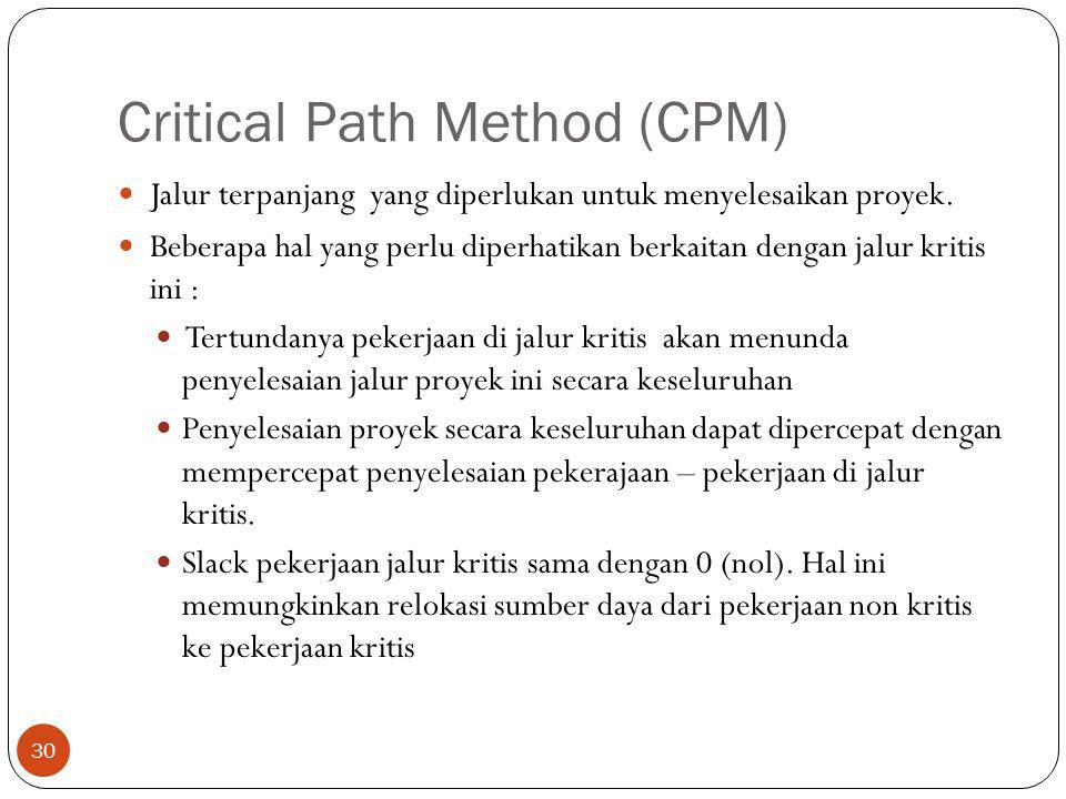 Critical Path Method (CPM) 30  Jalur terpanjang yang diperlukan untuk menyelesaikan proyek.  Beberapa hal yang perlu diperhatikan berkaitan dengan j