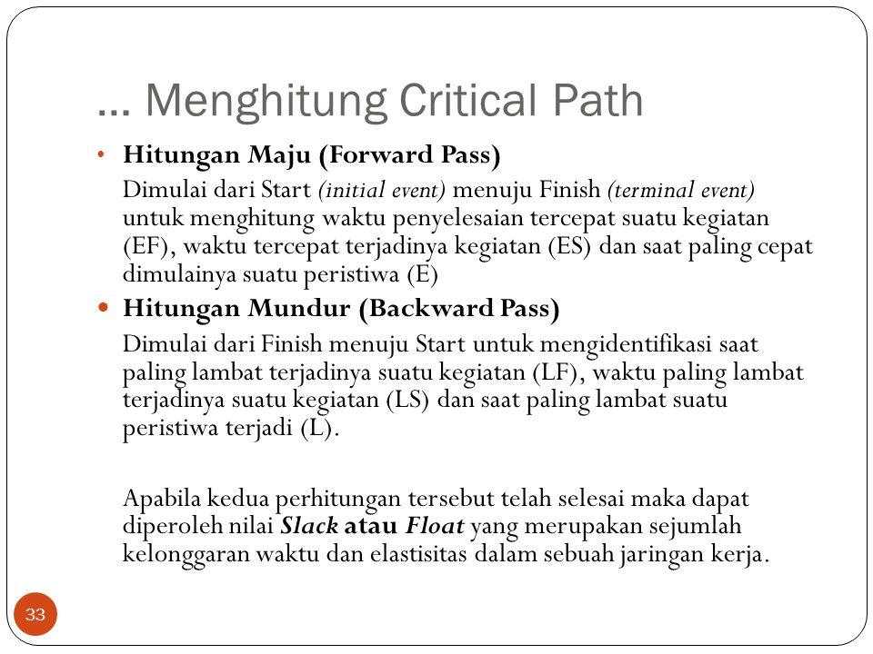 … Menghitung Critical Path 33 • Hitungan Maju (Forward Pass) Dimulai dari Start (initial event) menuju Finish (terminal event) untuk menghitung waktu