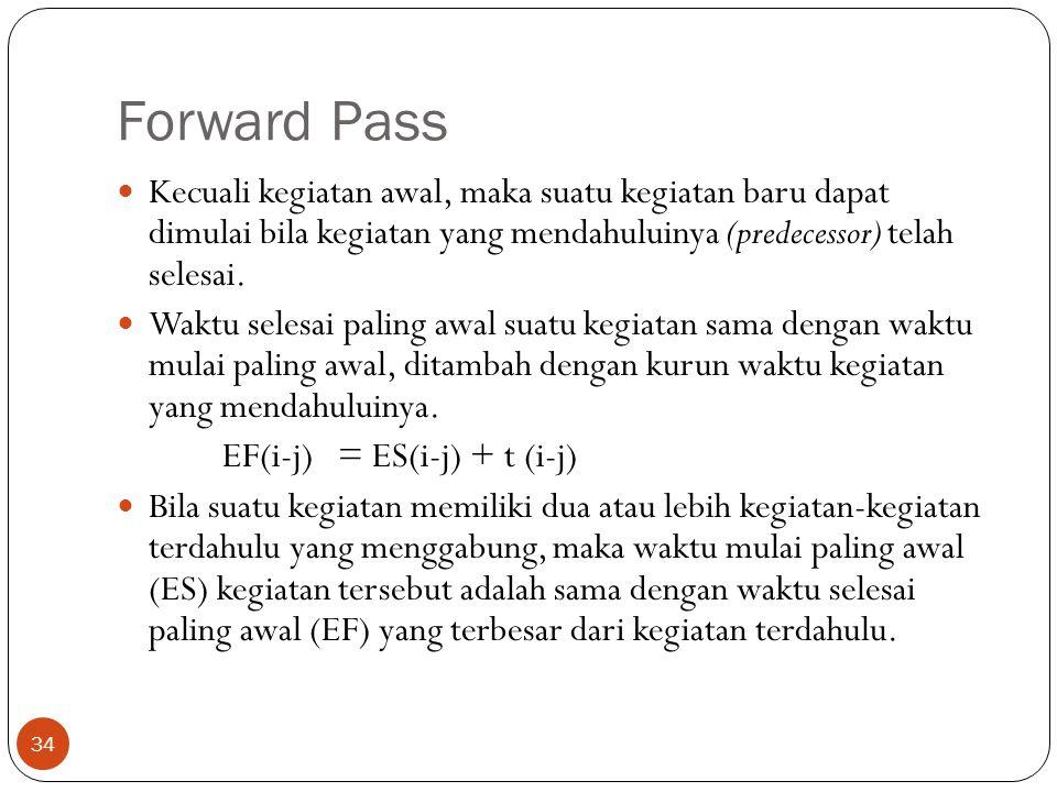 Forward Pass 34  Kecuali kegiatan awal, maka suatu kegiatan baru dapat dimulai bila kegiatan yang mendahuluinya (predecessor) telah selesai.  Waktu