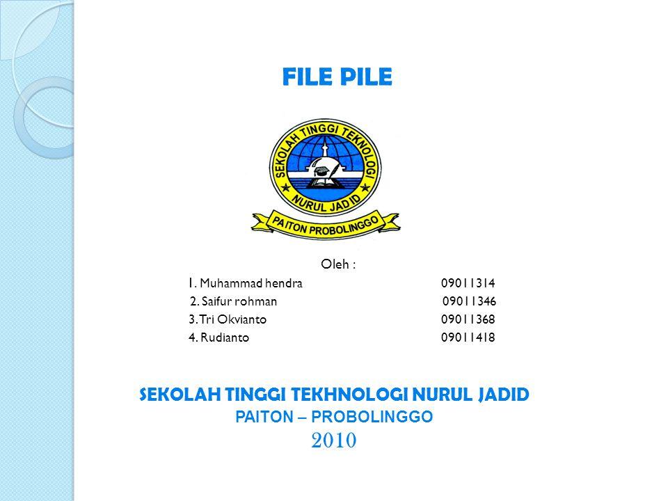 * P ENGERTIAN F ILE P ILE * File pile merupakan struktur yang paling sederhana dan jarang digunakan secara praktis.