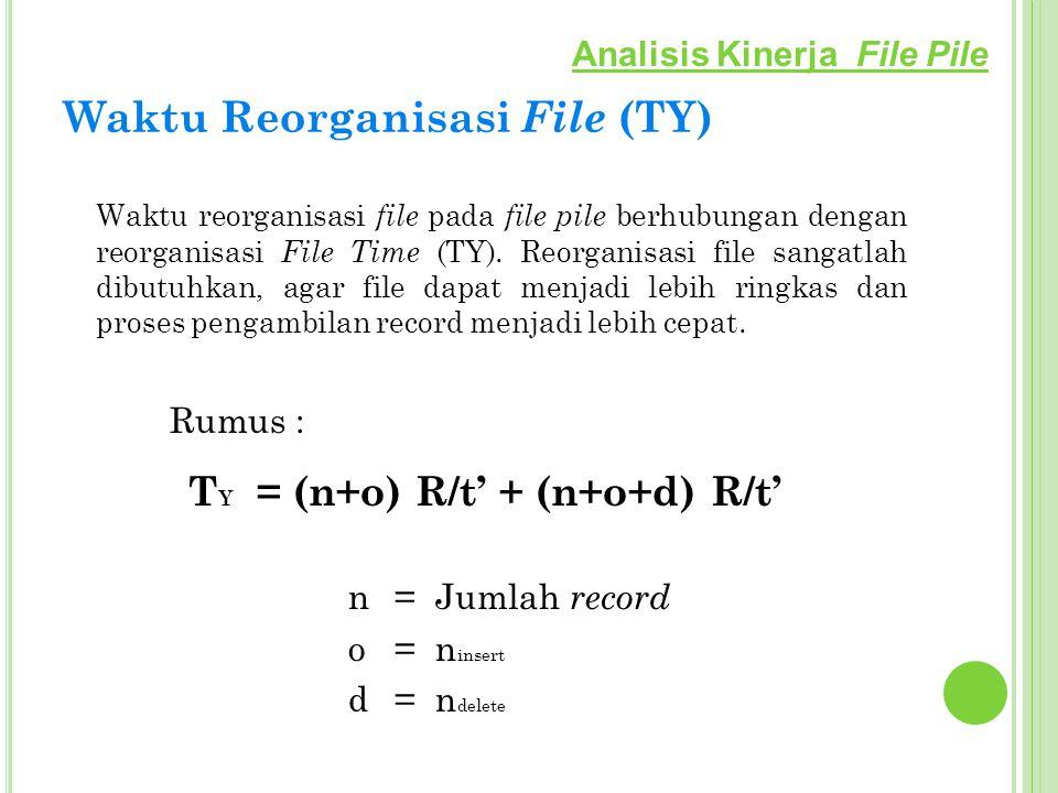Waktu Reorganisasi File (TY) Waktu reorganisasi file pada file pile berhubungan dengan reorganisasi File Time (TY). Reorganisasi file sangatlah dibutu