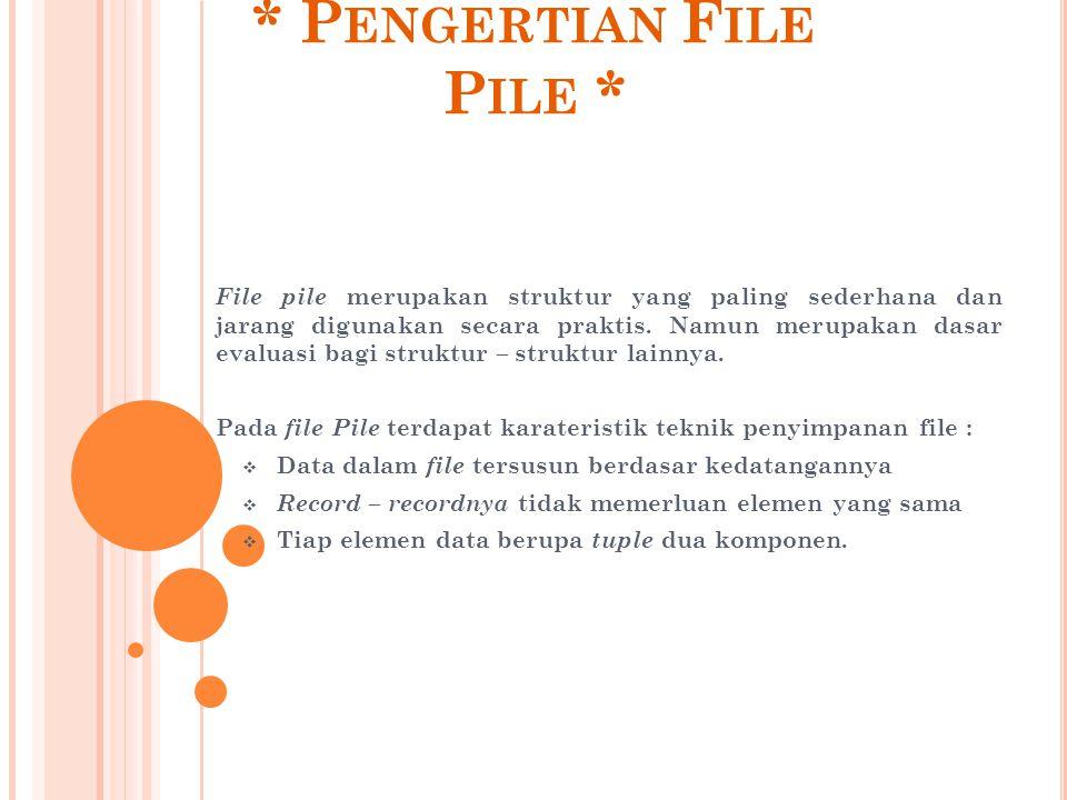 * P ENGERTIAN F ILE P ILE * File pile merupakan struktur yang paling sederhana dan jarang digunakan secara praktis. Namun merupakan dasar evaluasi bag
