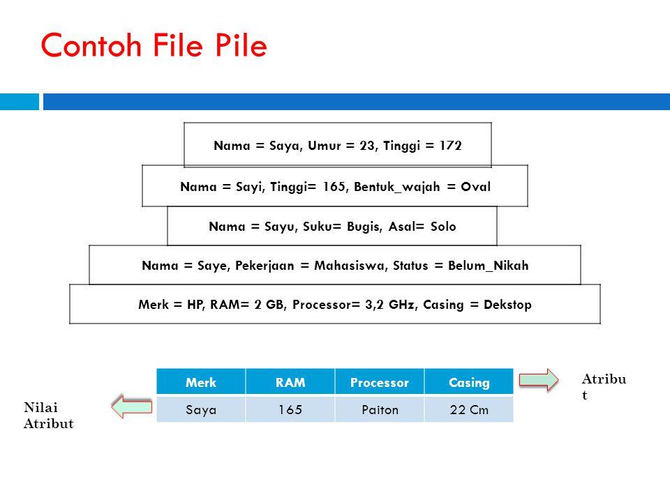 Penggunaan File Pile File pile merupakan struktur dasar yang tak terstruktur.