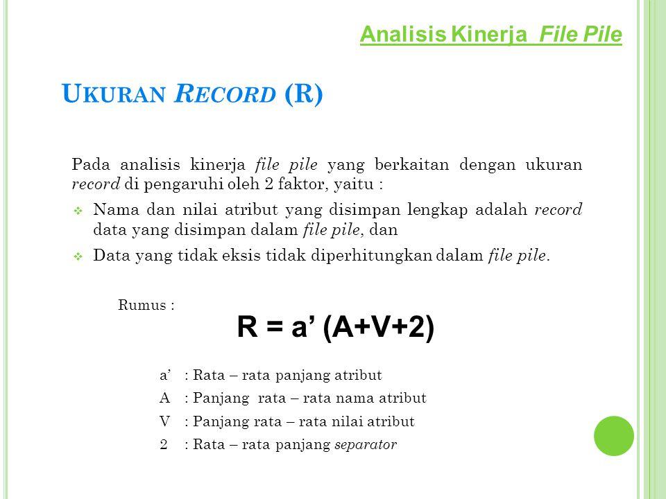 U KURAN R ECORD (R) Pada analisis kinerja file pile yang berkaitan dengan ukuran record di pengaruhi oleh 2 faktor, yaitu :  Nama dan nilai atribut y