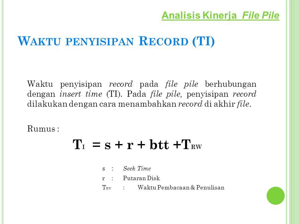 W AKTU PENYISIPAN R ECORD (TI) Waktu penyisipan record pada file pile berhubungan dengan insert time (TI). Pada file pile, penyisipan record dilakukan