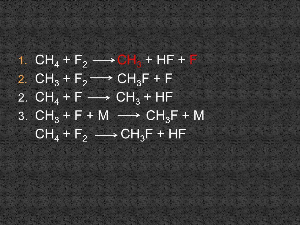 1. CH 4 + F 2 CH 3 + HF + F 2. CH 3 + F 2 CH 3 F + F 2. CH 4 + F CH 3 + HF 3. CH 3 + F + M CH 3 F + M CH 4 + F 2 CH 3 F + HF