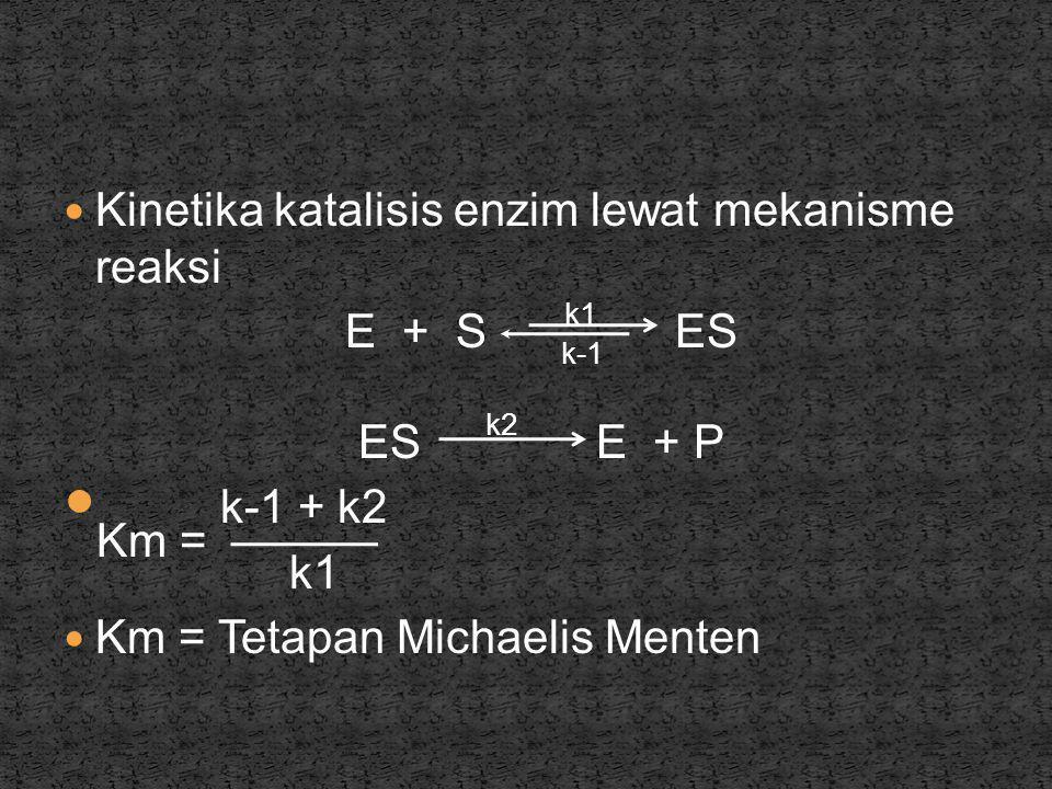  Kinetika katalisis enzim lewat mekanisme reaksi E + S k1 ES k-1 ES k2 E + P  Km = k-1 + k2 k1  Km = Tetapan Michaelis Menten