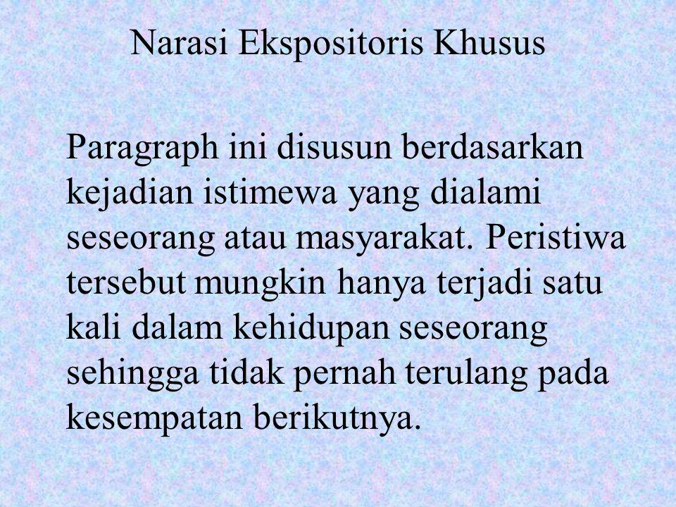 Narasi Ekspositoris Khusus Paragraph ini disusun berdasarkan kejadian istimewa yang dialami seseorang atau masyarakat. Peristiwa tersebut mungkin hany