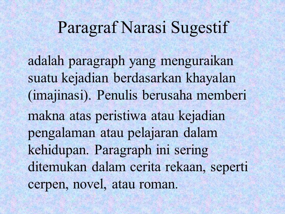 Paragraf Narasi Sugestif adalah paragraph yang menguraikan suatu kejadian berdasarkan khayalan (imajinasi). Penulis berusaha memberi makna atas perist