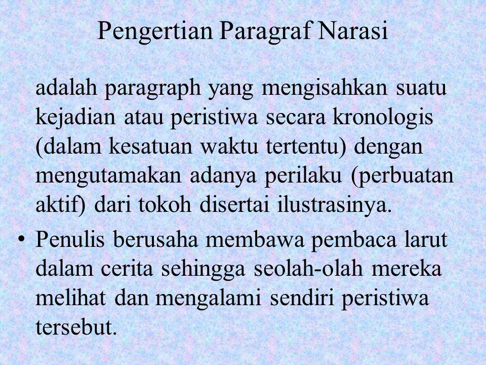 Pengertian Paragraf Narasi adalah paragraph yang mengisahkan suatu kejadian atau peristiwa secara kronologis (dalam kesatuan waktu tertentu) dengan mengutamakan adanya perilaku (perbuatan aktif) dari tokoh disertai ilustrasinya.