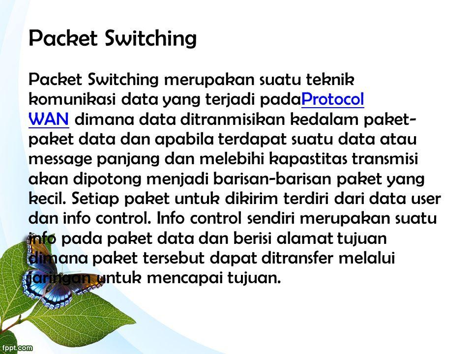 Packet Switching Packet Switching merupakan suatu teknik komunikasi data yang terjadi padaProtocol WAN dimana data ditranmisikan kedalam paket- paket