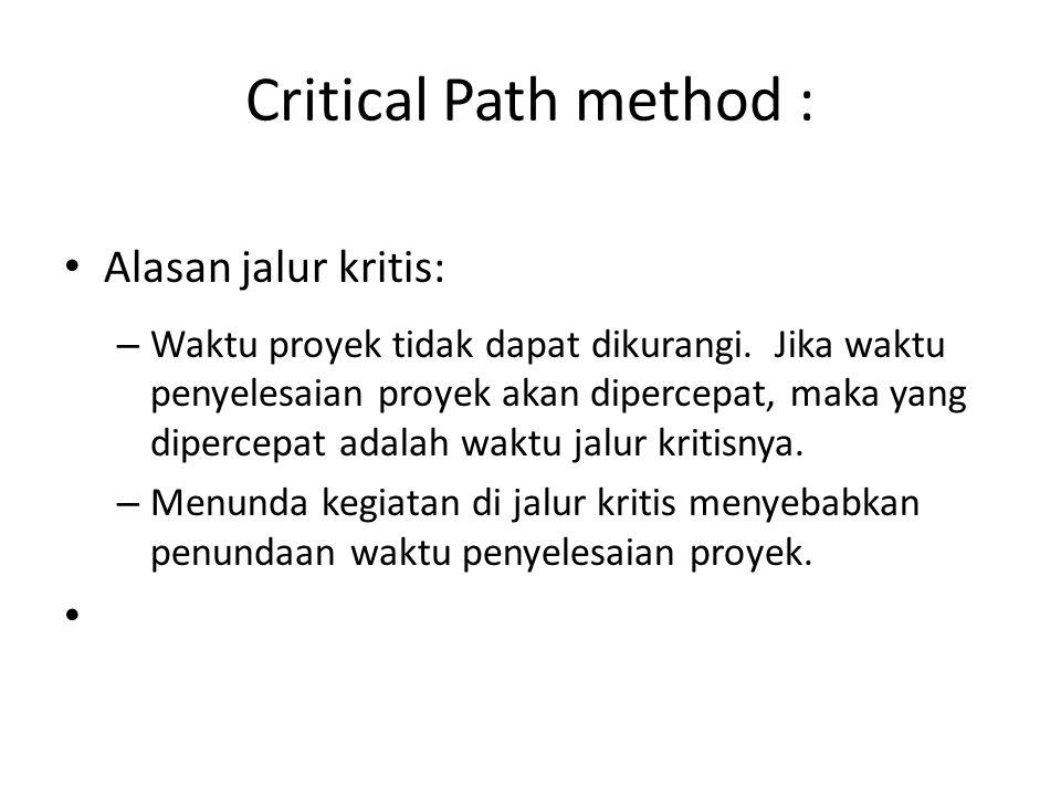Critical Path method : • Alasan jalur kritis: – Waktu proyek tidak dapat dikurangi. Jika waktu penyelesaian proyek akan dipercepat, maka yang dipercep