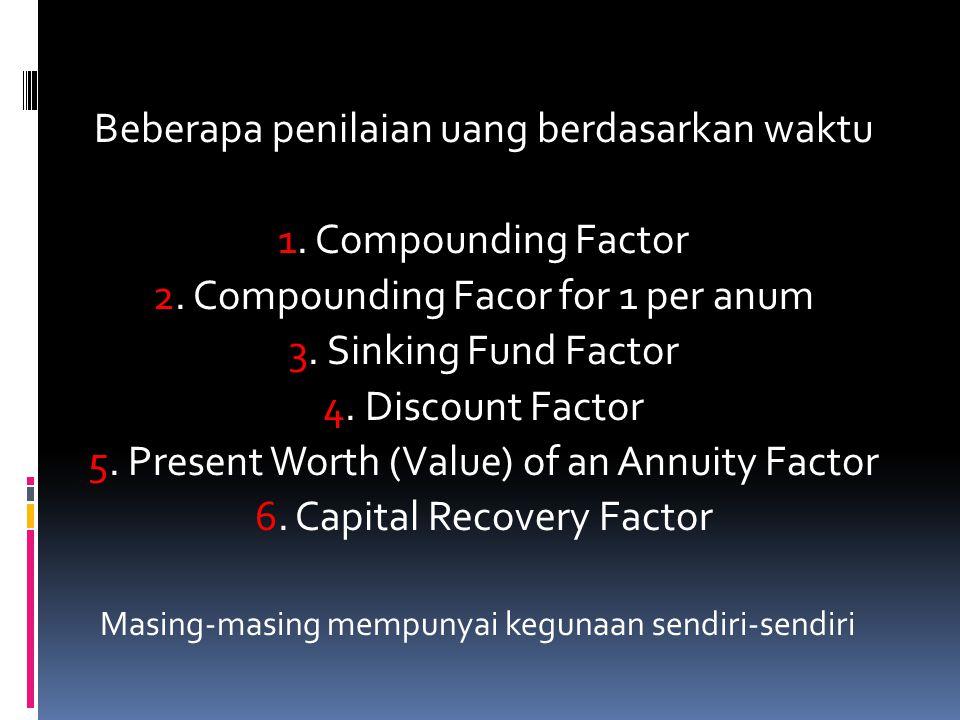 Beberapa penilaian uang berdasarkan waktu 1. Compounding Factor 2. Compounding Facor for 1 per anum 3. Sinking Fund Factor 4. Discount Factor 5. Prese