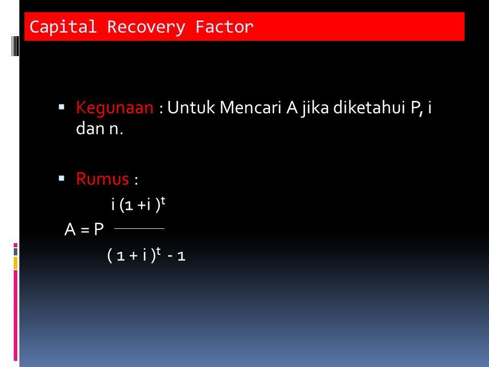 Capital Recovery Factor  Kegunaan : Untuk Mencari A jika diketahui P, i dan n.  Rumus : i (1 +i ) t A = P ( 1 + i ) t - 1