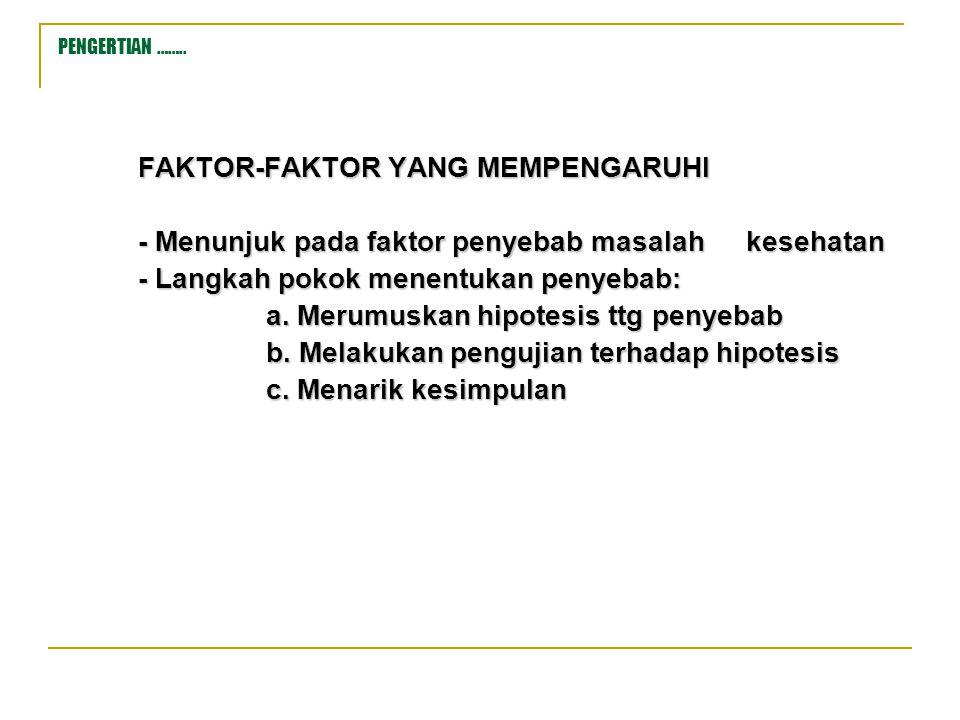 PENGERTIAN …….. FAKTOR-FAKTOR YANG MEMPENGARUHI - Menunjuk pada faktor penyebab masalah kesehatan - Langkah pokok menentukan penyebab: a. Merumuskan h