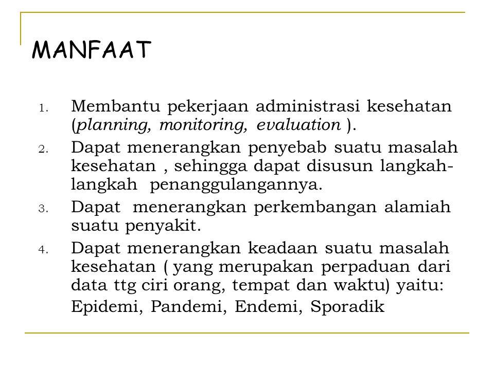 MANFAAT 1. Membantu pekerjaan administrasi kesehatan ( planning, monitoring, evaluation ). 2. Dapat menerangkan penyebab suatu masalah kesehatan, sehi