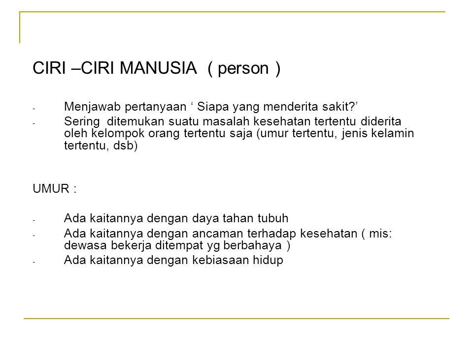CIRI –CIRI MANUSIA ( person ) - Menjawab pertanyaan ' Siapa yang menderita sakit?' - Sering ditemukan suatu masalah kesehatan tertentu diderita oleh k